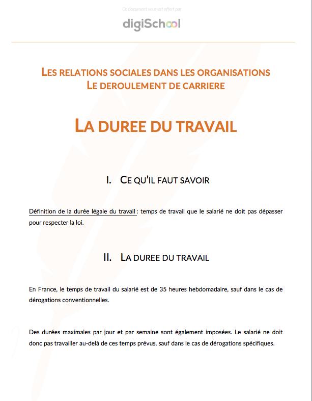 47b1c34c2f1 Document rédigé par un prof La durée du travail - Economie Droit - Bac pro  1ère
