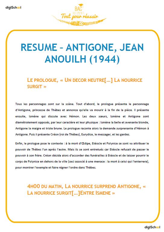 résumé complet antigone de jean anouilh français bac pro