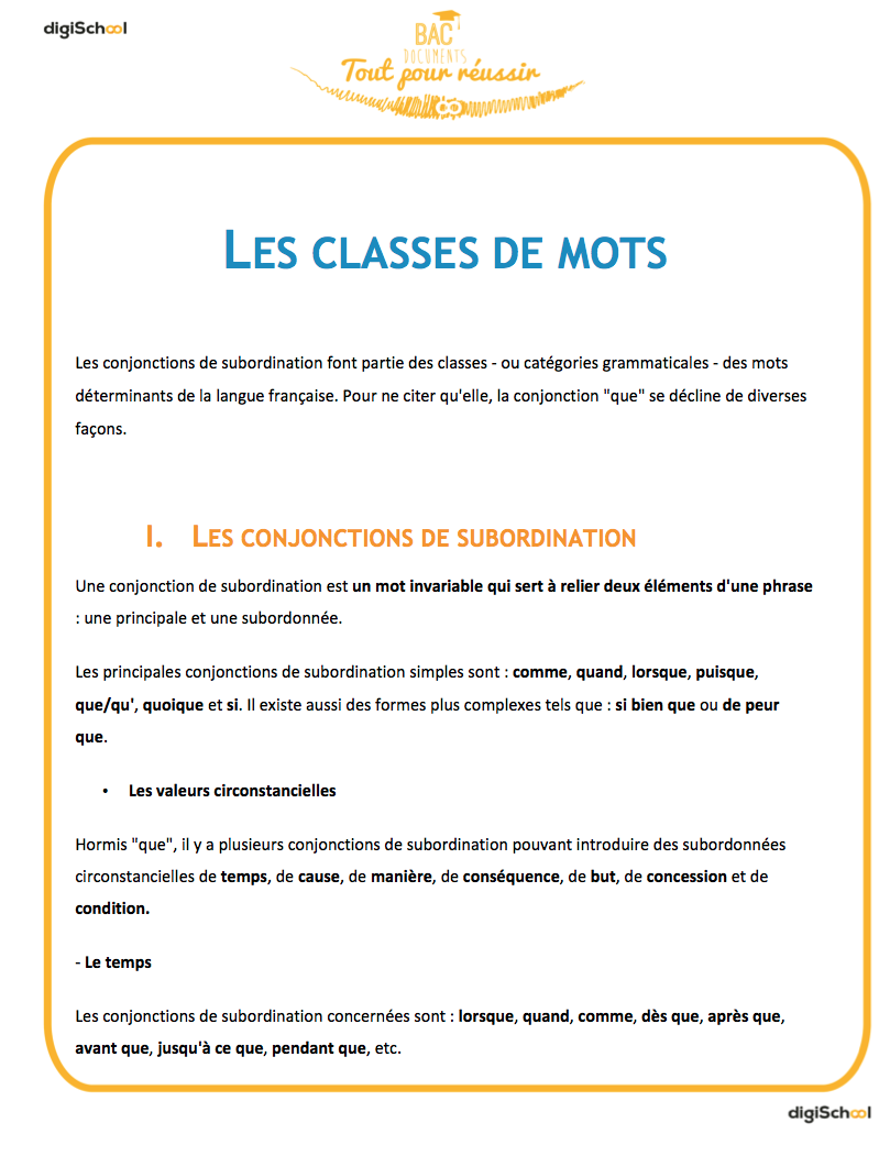 Les classes de mots - Seconde - français