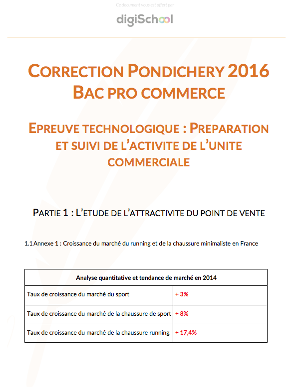Correction Commerce - Bac Pro Pondichéry 2016