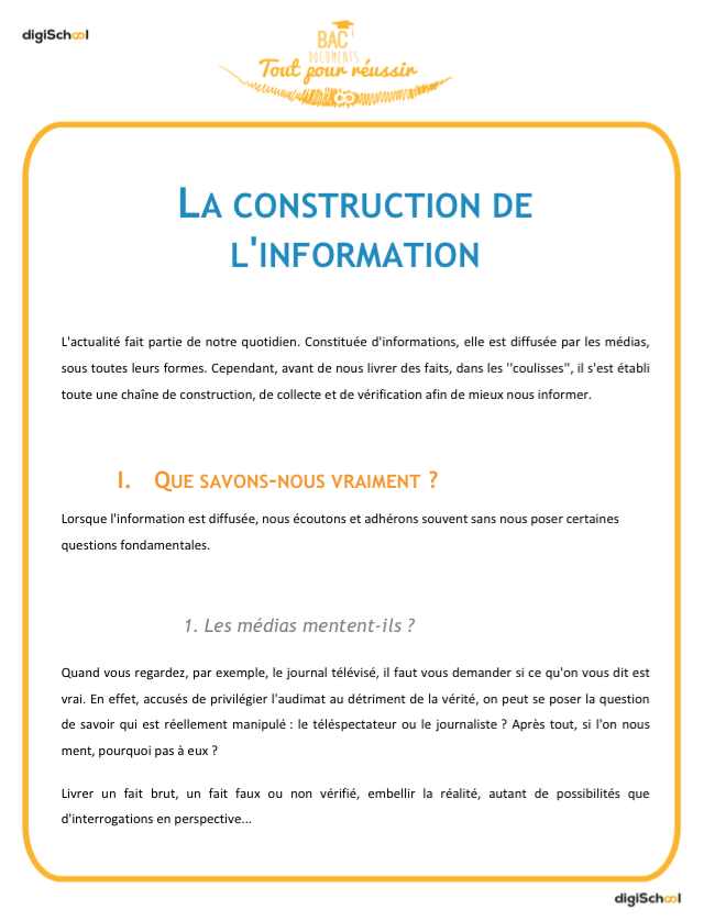 La construction de l'information - cours français - seconde