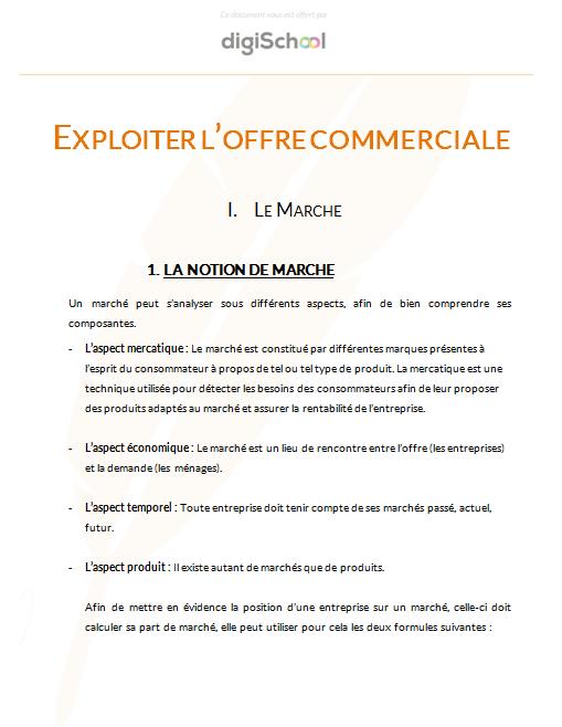 Vendre Exploiter L Offre Commerciale Cours De Commerce Gratuit