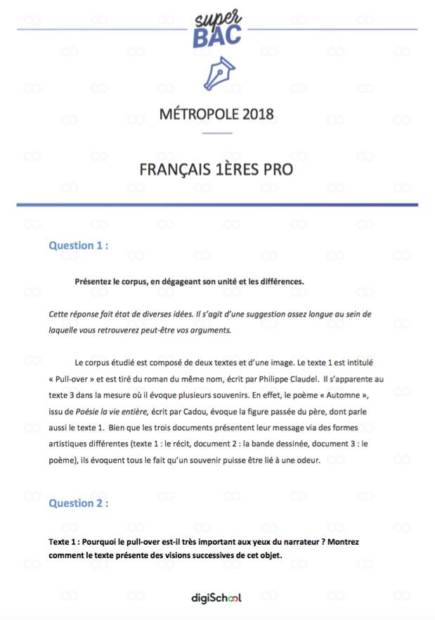 Bac Pro 2018 Le Corrige De L Epreuve De Francais 1ere Pro