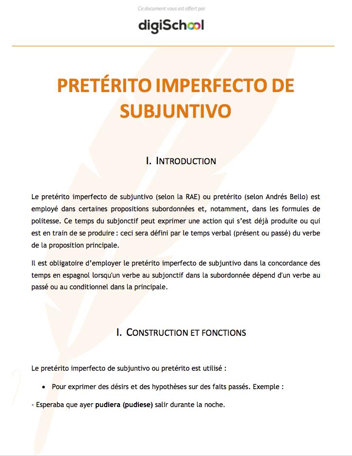 Preterito Imperfecto De Subjuntivo Cours D Espagnol Bac Pro