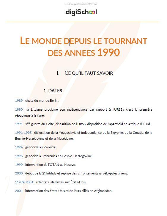 Document rédigé par un prof Le monde depuis le tournant des années 1990 -  Histoire Géographie - Terminale Pro 960aa05dd82