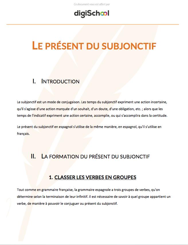 Le Present Du Subjonctif Cours D Espagnol Bac Pro