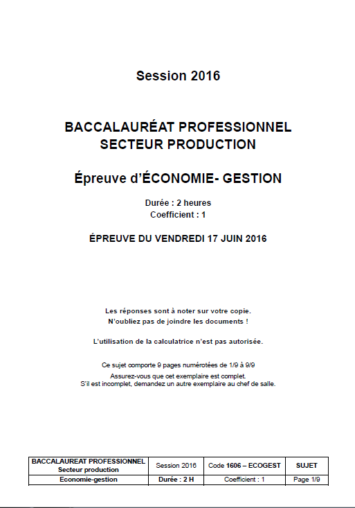 Eco Gestion Bac Pro Cours Et Annales Corrigees