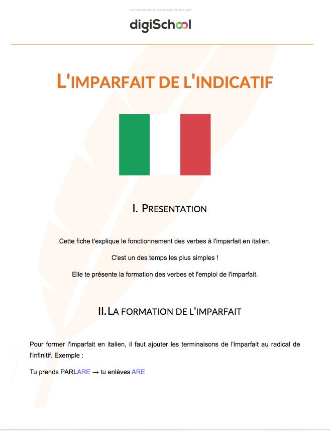 L Imparfait De L Indicatif Cours D Italien Bac Pro