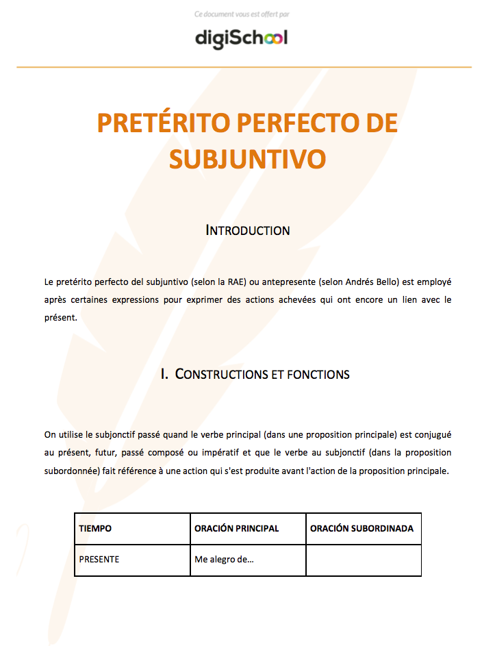 Preterito Perfecto De Subjuntivo Cours D Espagnol Bac Pro