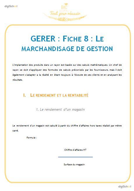 Gerer Le Machandisage De Gestion Cours Gratuit De Commerce