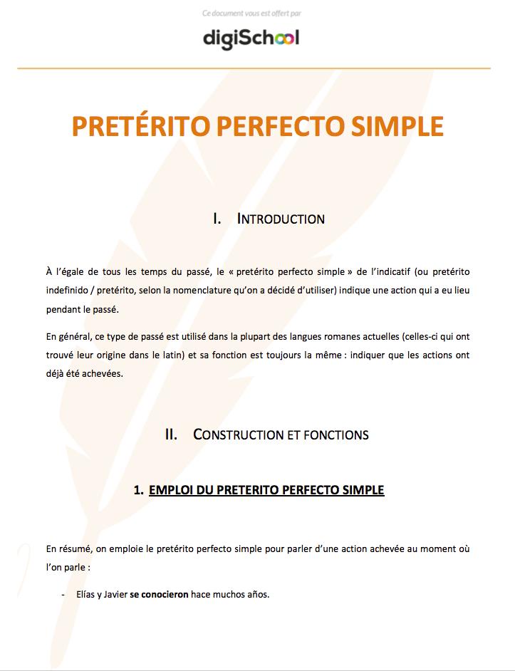 Preterito Perfecto Simple Cours D Espagnol Bac Pro
