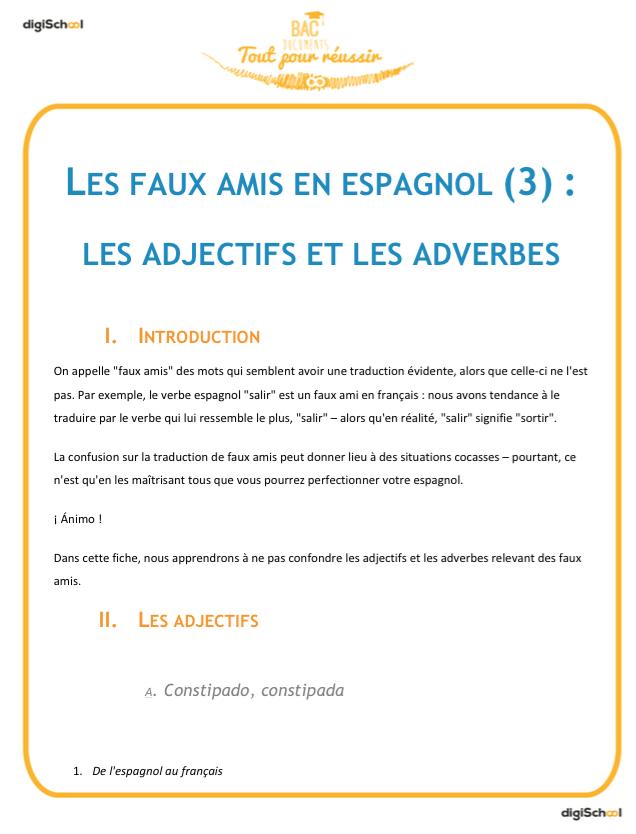 Faux Amis Adjectifs Et Adverbes Cours Espagnol Bac Pro