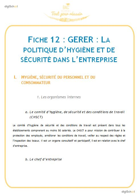 La politique d 39 hygi ne et de s curit dans l 39 entreprise - Fiche bilan de competences bac pro cuisine ...