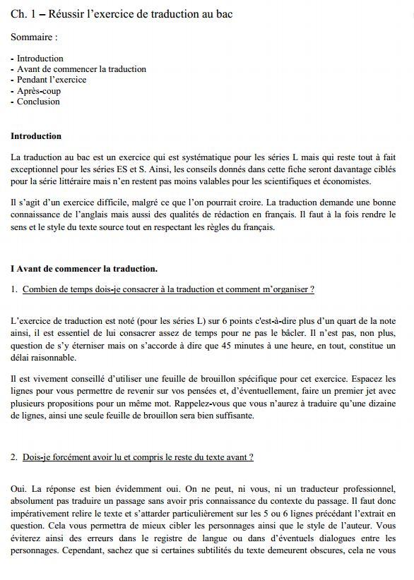 exercice de traduction d u0026 39 anglais au bac pro   m u00e9thodologie