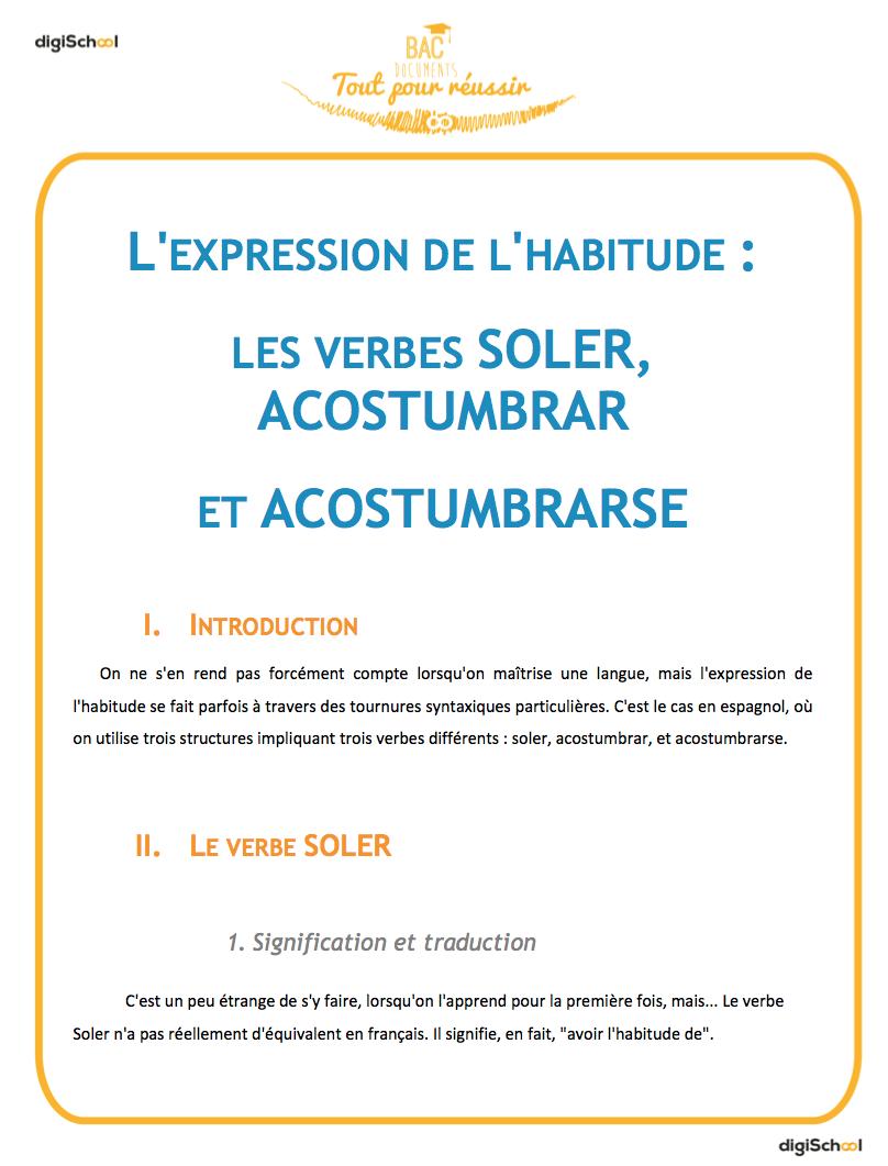 Vocabulaire L Expression De L Habitude Cours D Espagnol Bac Pro