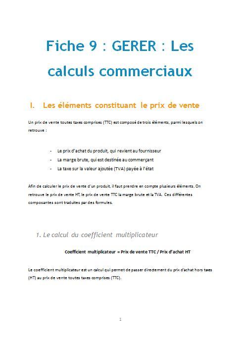 Gerer Les Calculs Commerciaux Cours Gratuit Pour Bac Pro