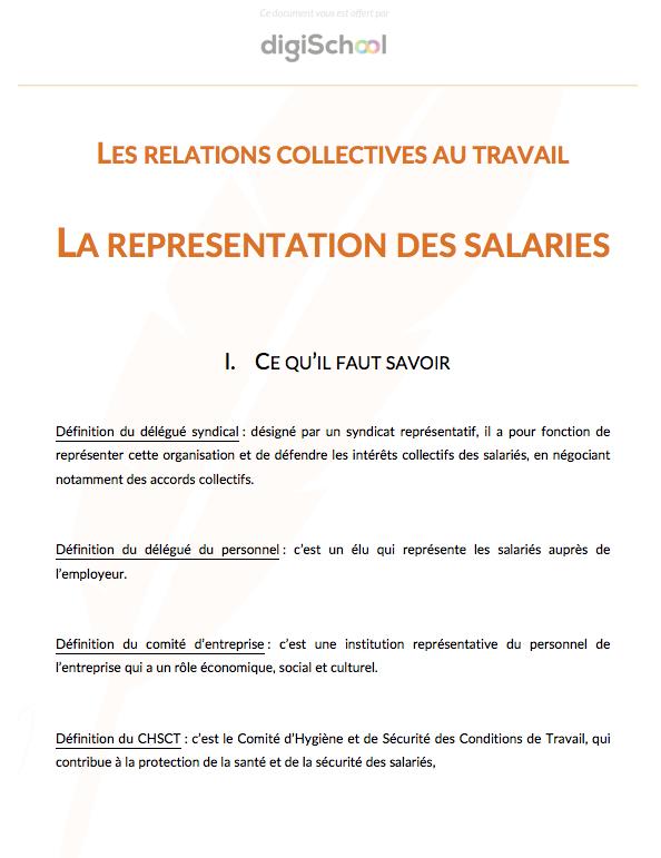 Representation Des Salaries Eco Droit 1ere Pro