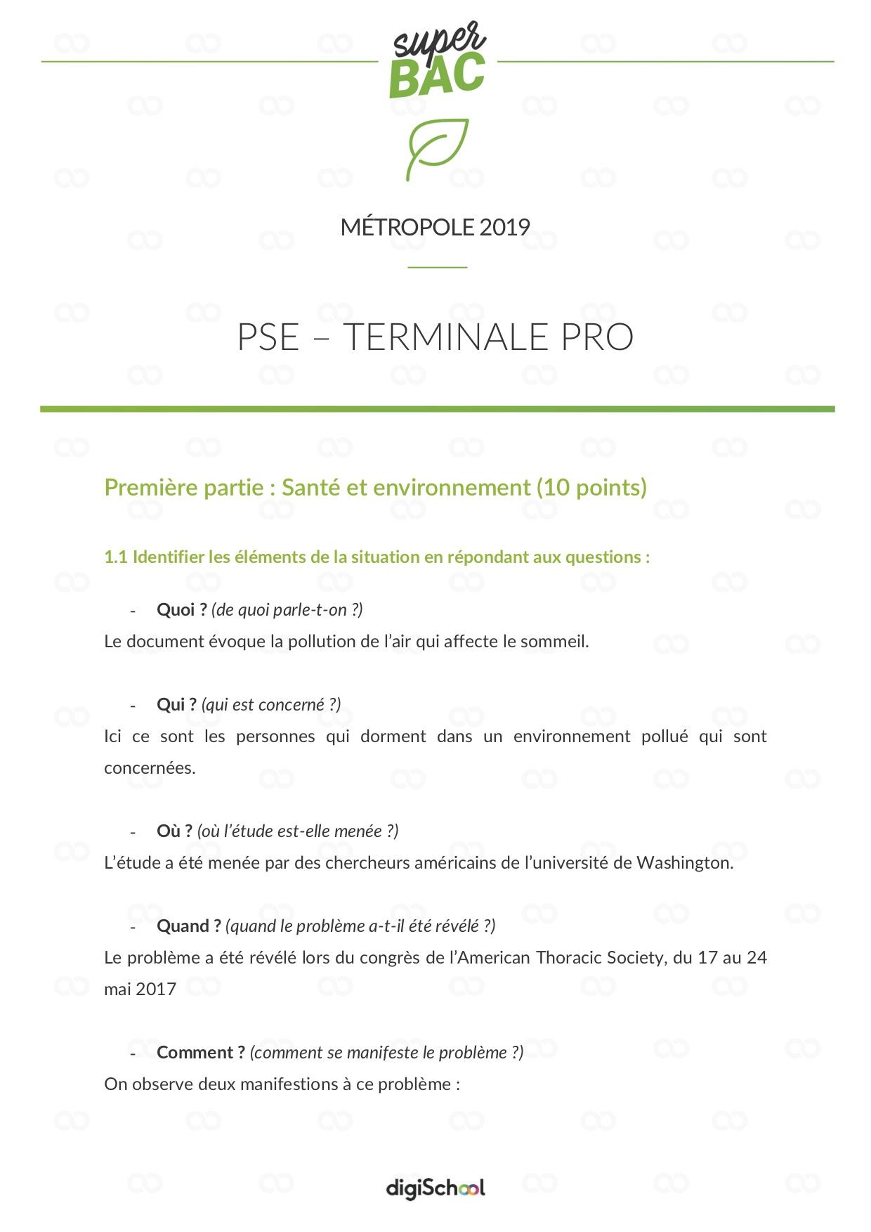 Pse Bac Pro Cours Et Annales Corrigées