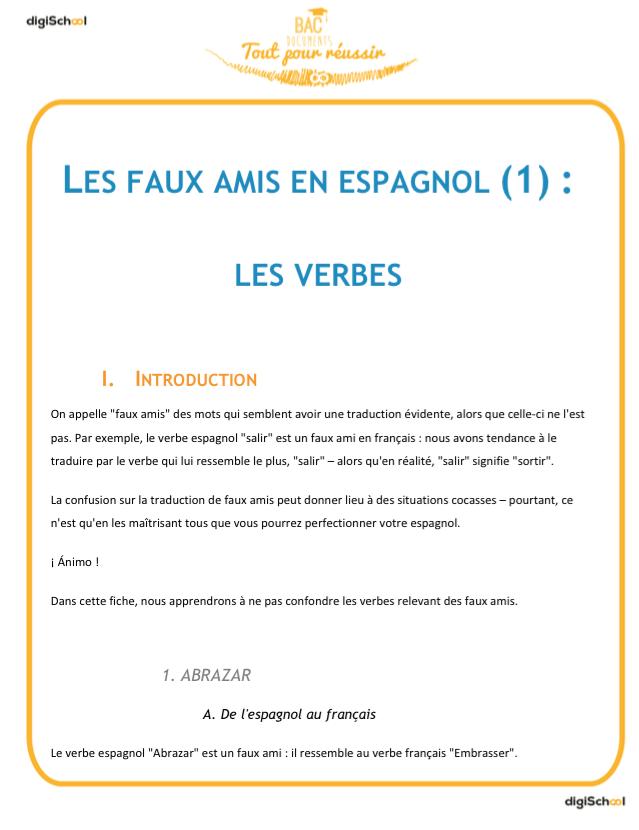 Faux Amis Les Verbes Cours Espagnol Bac Pro