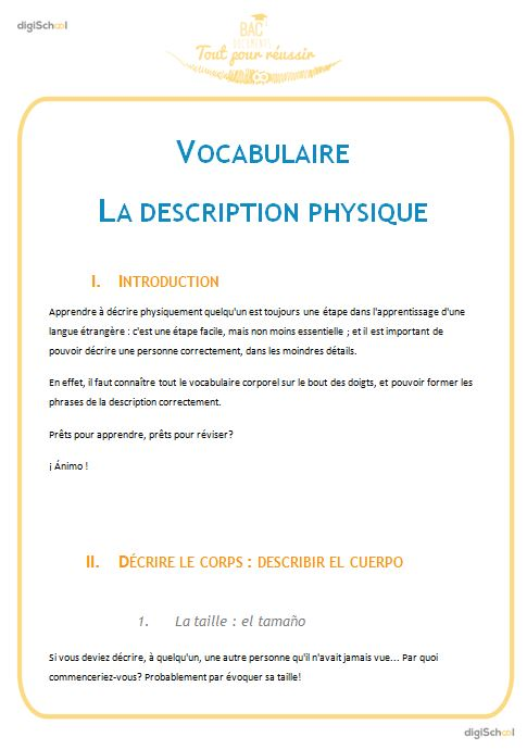 La description physique : vocabulaire - Espagnol - Seconde