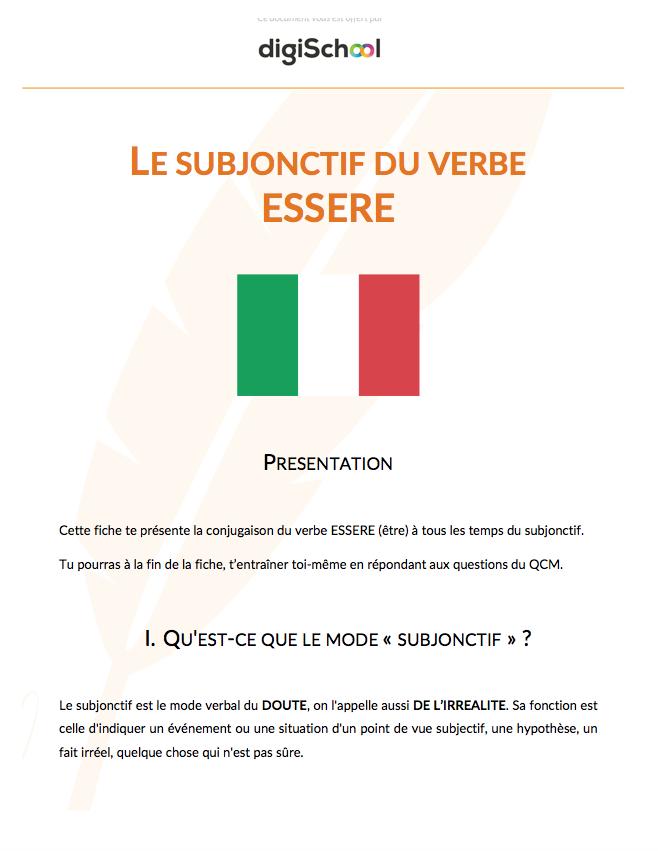 Le Subjonctif Du Verbe Essere Cours D Italien Cours Pro