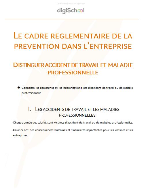 Distinguer Accident Du Travail Et Maladie Professionnelle Cours