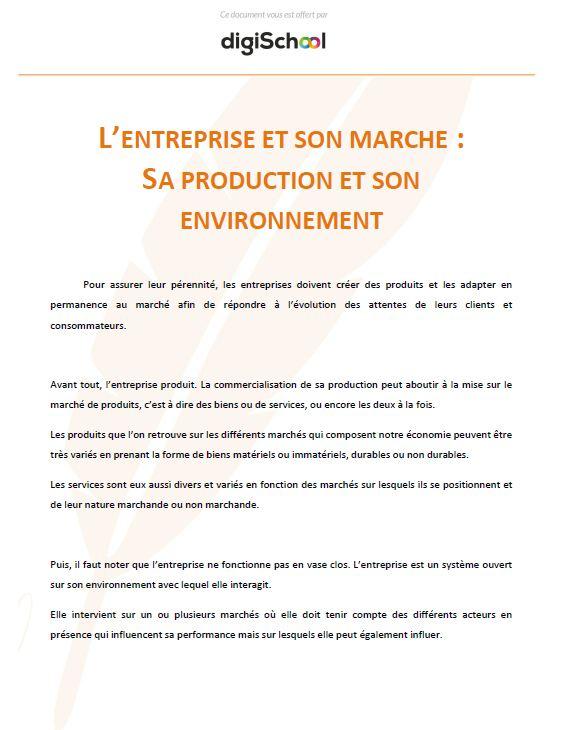 Production Et Environnement D Une Entreprise Cours Gratuit D
