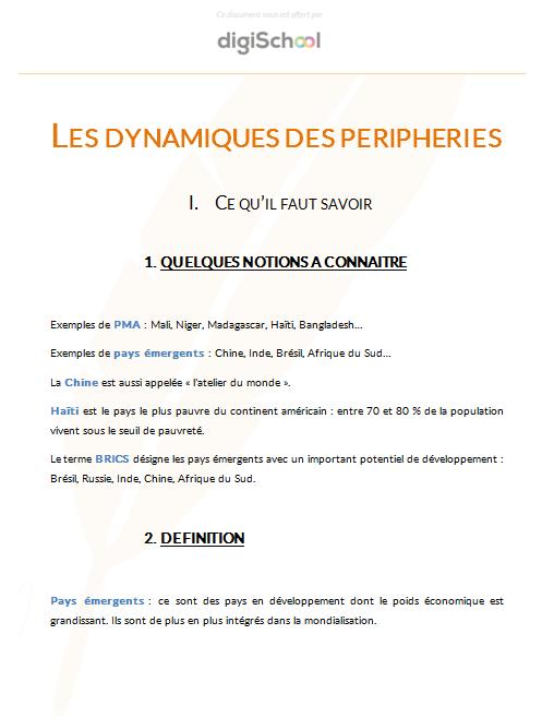 Les Dynamiques Des Peripheries Cours Gratuit D Histoire Geographie