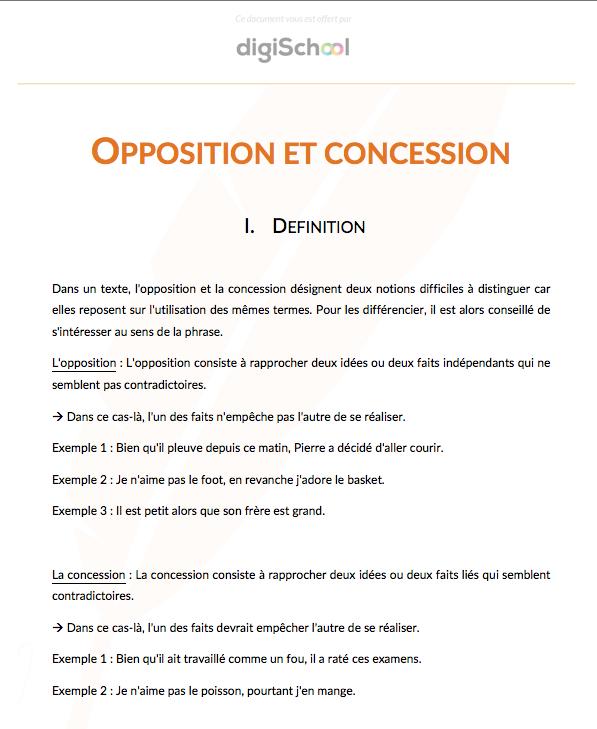 Opposition Concession Français Bac Pro