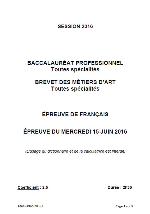 Sujet Francais Bac Pro 2016