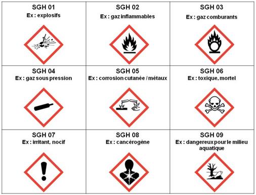 Liste des pictogrammes de dangers - Cours PSE gratuit Bac PRO