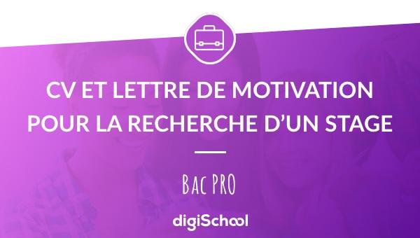 faire un cv et une lettre de motivation au bac pro